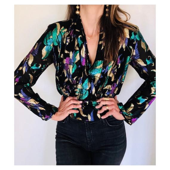 stunning 80s metallic embellished plunge blouse