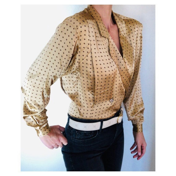 silk charmeuse plunge blouse