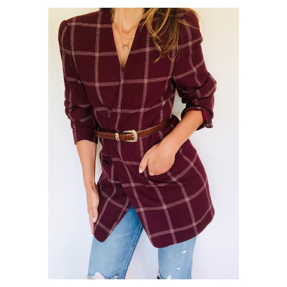 90s oversized burgundy windowpane plaid blazer