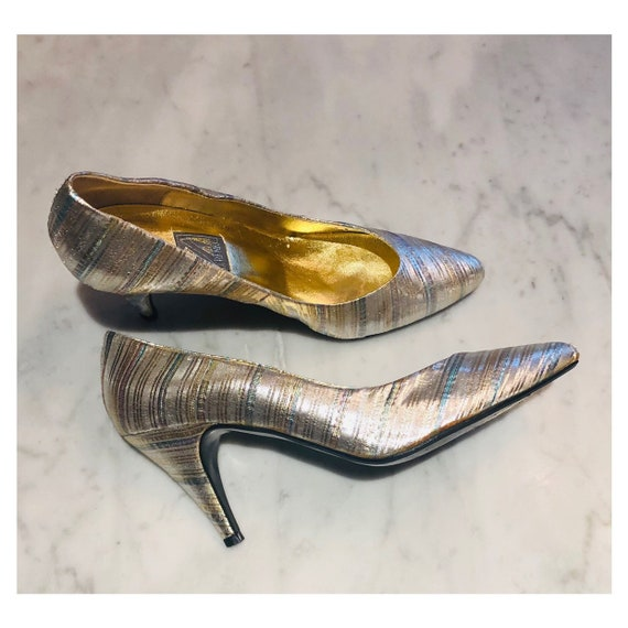 amazing 80s metallic fabric almond toe pumps