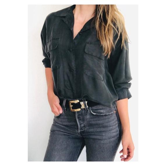 Incredible dusty/off black minimalist silk blouse