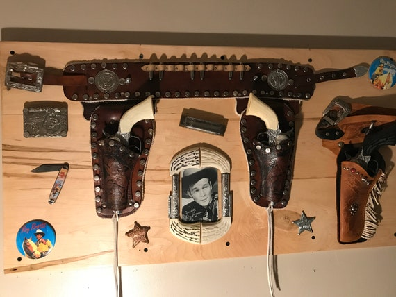 Roy Rogers Holsters and Collectibles Displayed on Hard Maple Plaque