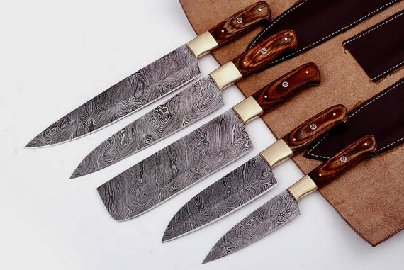 Damascus Chef Knife Set with Cleaver 5 pieces Rosewood Brass Handle Leather  Roll Kit Damascus Steel Chef Set Damascus Kitchen Knives Set