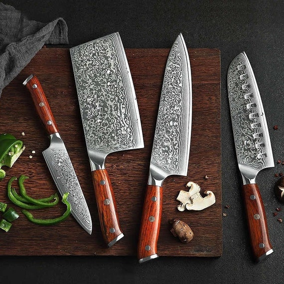 Damascus Chef Knife Set with Cleaver 4 pieces Rosewood Stainless Steel  Bolsters Damascus Kitchen Knives Set Cowhide Leather Roll Kit