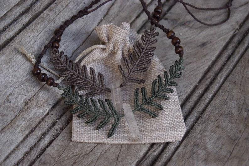 earthy fern choker with quartz stone