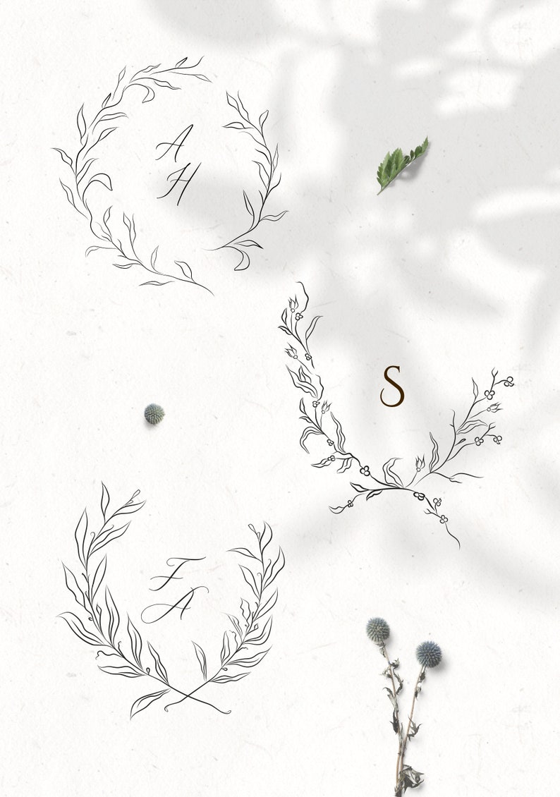 branches and frames Floral Decorative Ornate Wreaths clipart hand ...