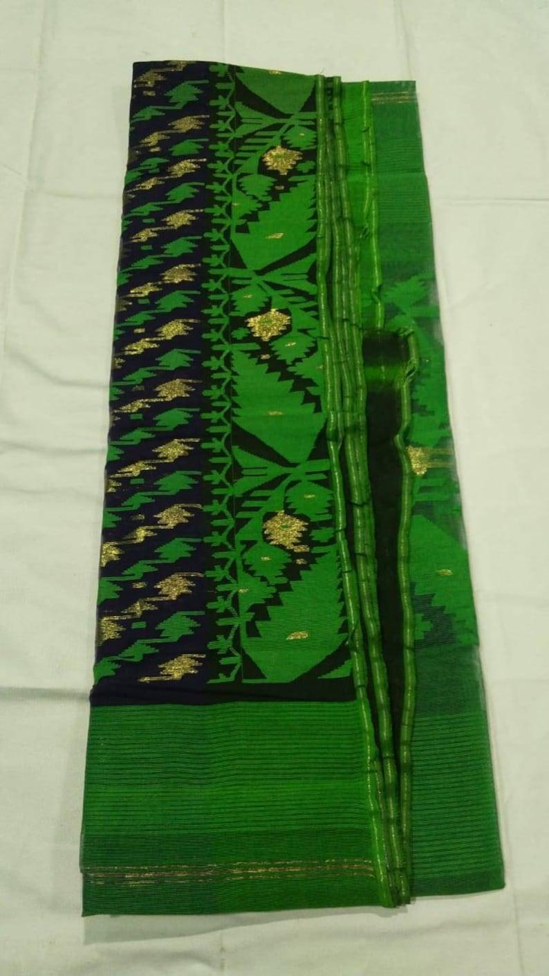 Exclusive Pure Handloom Dhakai Jamdani Saree with rich woven work Saris