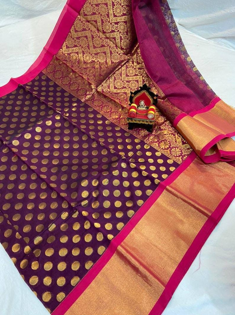 Exclusive Chanderi Kuppadam Silk Saree Rich Zari Woven Pure Handloom Silk Saris