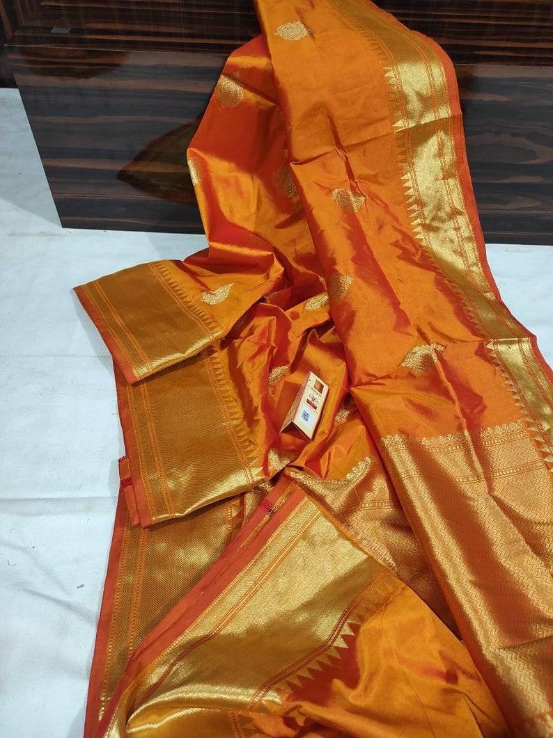 Beautiful designer Pure Katan Silk Sarees Pure Handwoven Pure Silk Saris