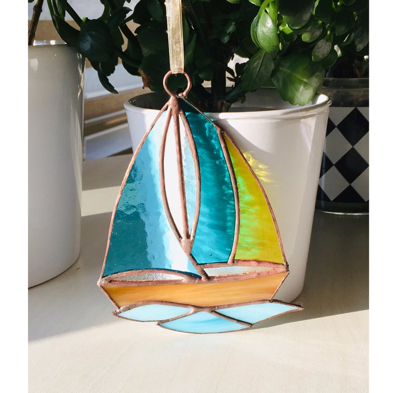 Stained Glass Multicolor Sailboat Suncatcher Window Ornament Home Gift Home Decoration