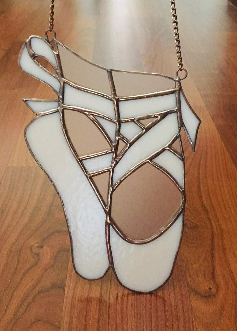 Stained Glass Pink Iridescent Ballet Shoes Suncatcher Window Ornament Home Gift Home Decoration