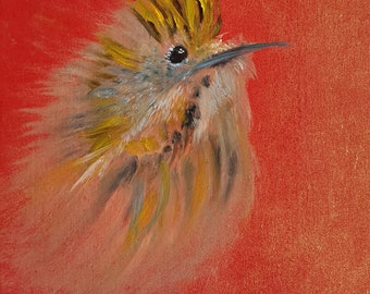 Do you want your own personal birdie? Painted on a wooden panel with oil paint? Look in the description for more information