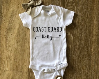 Personalize with name  Baby Bodysuit Embroidered United States Coast Guard