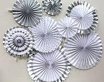 Silver Paper Fans | Paper Rosettes | Paper Fan Backdrop | Pinwheel Party Decorations | Above Couch Home Decor 8 Pieces