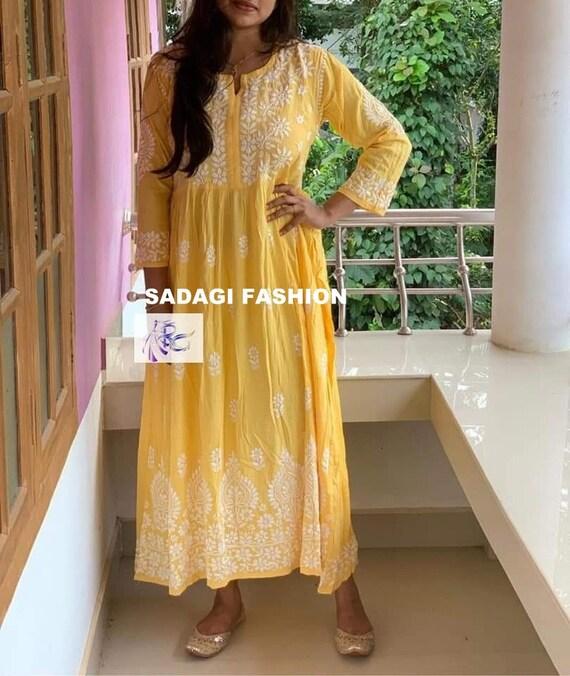 Details about  /Diwali Special Modal Cotton Festive Ethnic Wear Kurti Lucknawi Chikankari Kurta