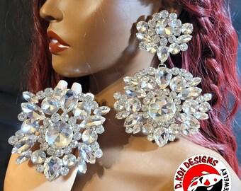 Crystal Hoop Earrings  Clip On or Pierced  Statement Earrings  Crystal Jewelry  Dress Earrings  Drag Queen