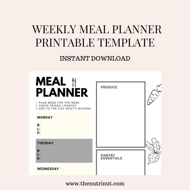 Meal Planner  Weekly Menu Planner Printable  Shopping image 0