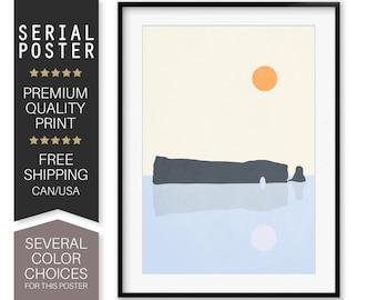 Rocher Percé Poster, Gaspésie Wall Art, Quebec Landscape Art Print, Mid Century Art, Modern Abstract Landscape, Minimalist Art,Serial Poster