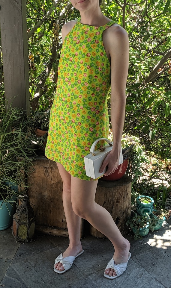 Vintage Neon Daisy Mini Dress