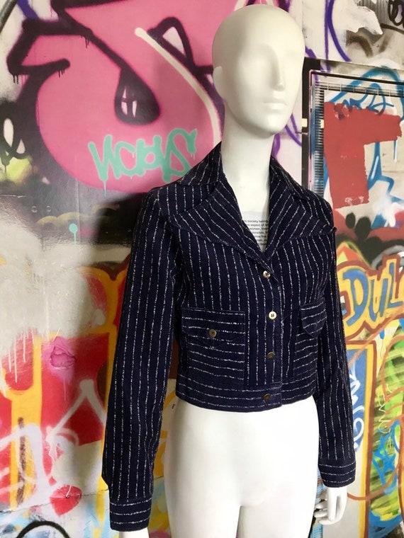 Funky vintage navy blue cordoroy jacket SML