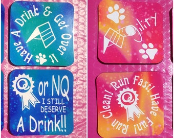 """Drink Coasters for Dog Sports and Agility Lovers - Colorful 3.7"""" Solid Square Coaster With Rubber Underneath"""