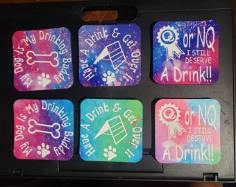 """Drink Coasters For Dog Lovers, Dog Sports and Agility - Colorful 3.7"""" Solid Square Coaster With Rubber Underneath"""