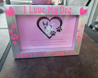 I Love My Dog or Cat - Custom frame with your pet's name - 4x6 Photo Frames for Dog & Cat Lovers - Silver/Black