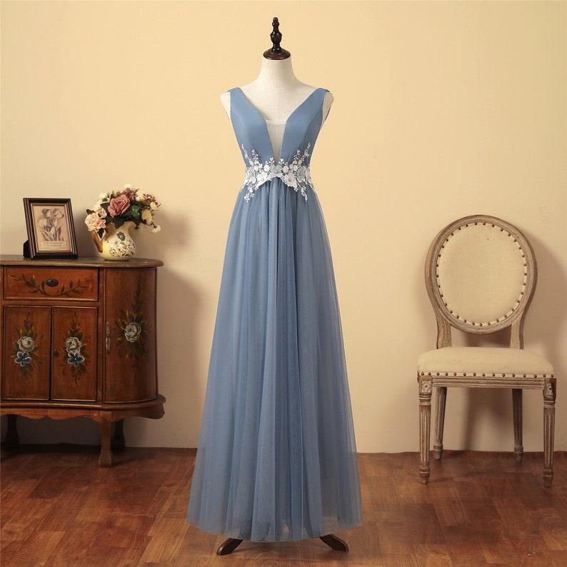 Lange blaue Prom Kleid Tüll Brautjungfer Kleid V ...