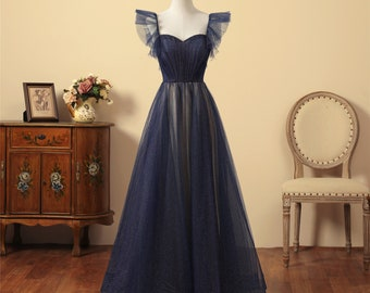 Dark Blue Prom Dress Flying Sleeves Bridal Dress Sweetheart Neckline Party Gown Low Back Wedding Dress Sparkling Tulle A-Line Prom Dresses
