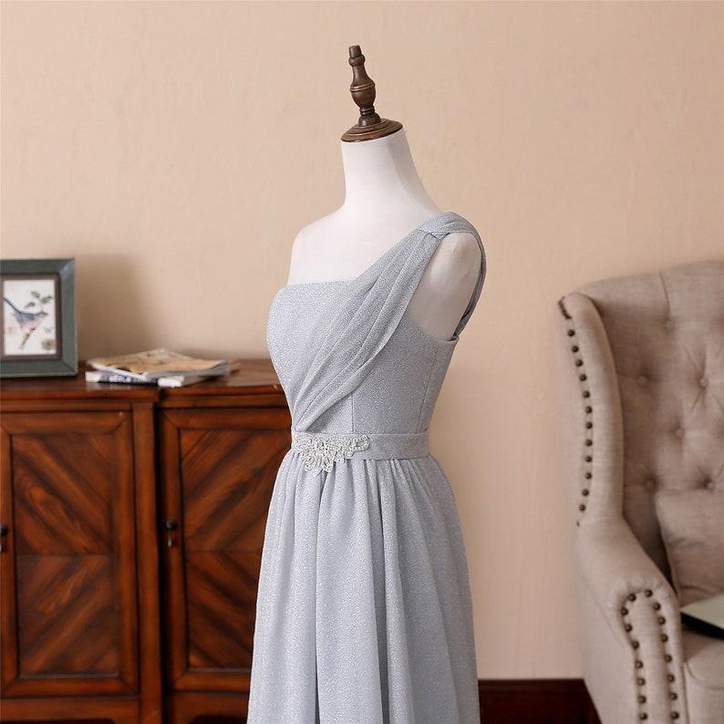 One-shoulder Prom Dress Long Dust Blue Evening Dress Sparkling Yarn Bridal Dress Low Back Wedding Dress Formal Bridal Dress Party Dress