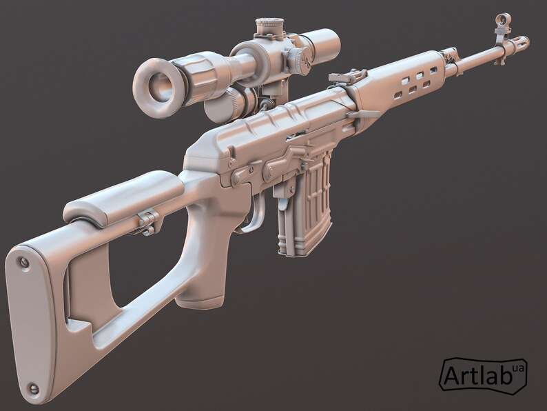 SVD sniper rifle \u2012 3D model \u2012 3D weapon model \u2012 3D gun