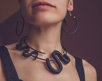 Unique black rubber necklace / contemporary artistic jewelry / short womens snake necklace