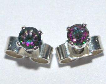 Mystic Fire Topaz silver stud earrings