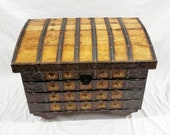 India Teak and Iron Damchiya Dowry Chest