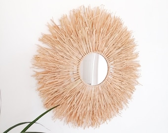 Raffia mirror | Boho mirror | Decorative mirror | Bohemian decor | Boho home decor | Mirror | Raffia | Natural materials | Wall decor