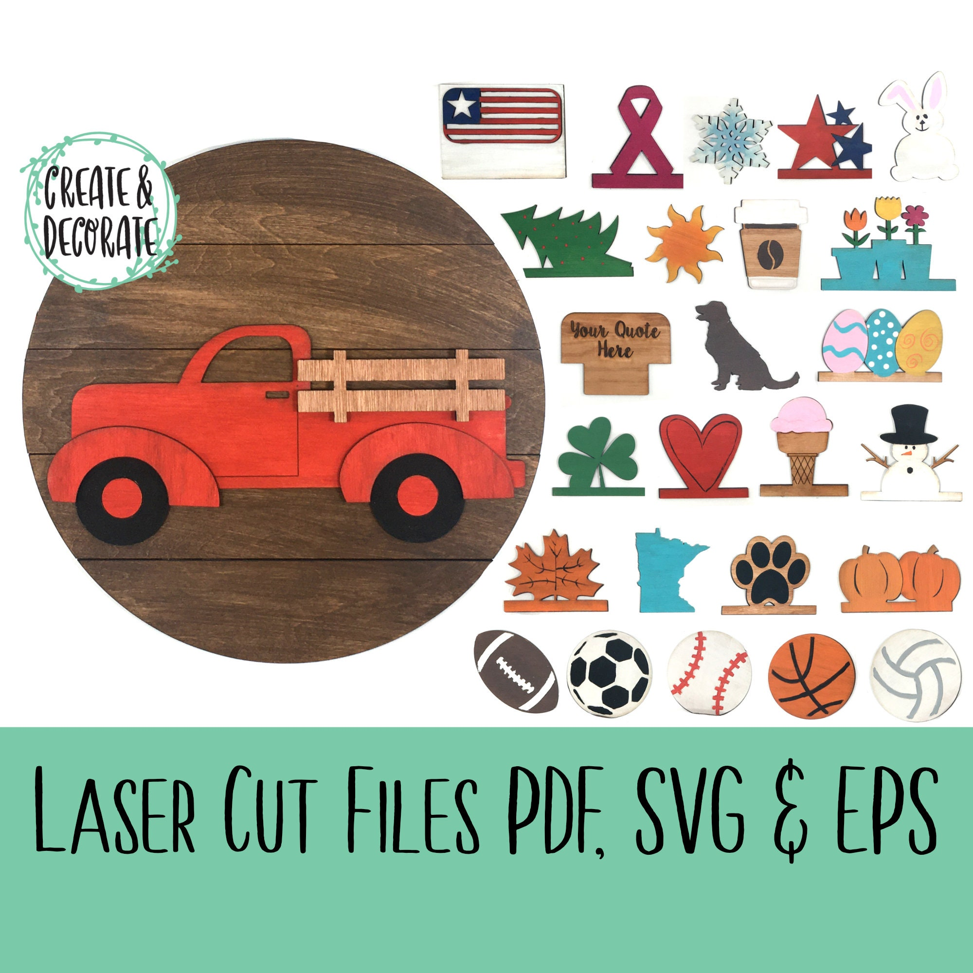 Truck SVG Interchangeable truck SVG Cut File for Glowforge Glowforge Svg- Glow Forge seasons Svg- SVG Glowforge File