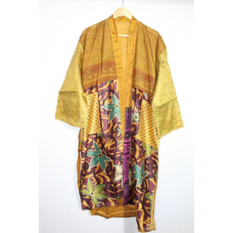 Robe Vintage Kimono Dressing Gown Silk Kimono Silk Saree Kimono EXPRESS SHIPPING Floral Kimono Night Wear Dress PS-240 Beach Wear
