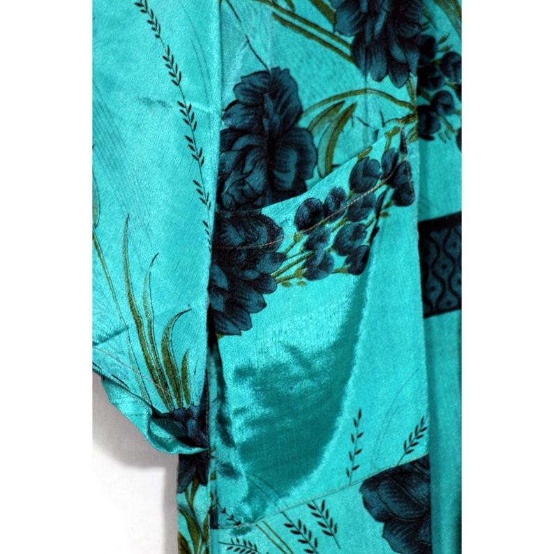 Robe Vintage Silk Robe Dressing Gown Beach Wear Dress Night Wear Floral Kimono Bath Robe PS-165 EXPRESS SHIPPING-Silk Kimono