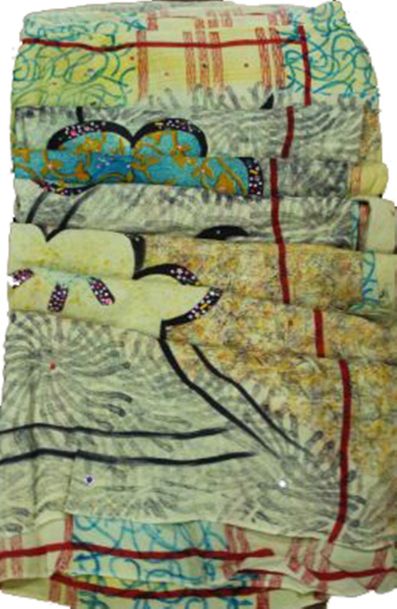 Recycled Fabric Sari Clothing Vh456 Indian Vintage Silk Crape Saree Ethnic Craft Dressmaking EXPRESS SHIPPING-Woman/'s Silk Sari Kimono