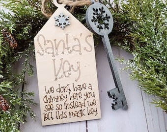 Santa/'s Magic Key With Wooden Sign Ornament For Kids With No Chimney New