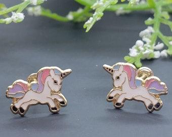 14K Solid Gold • Unicorn Enamel Resin • Screw Backs • Cute Flat Earrings • Girls / Kids Earrings