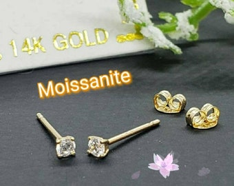 Moissanite  14K Solid Gold , 1.00 mm - 2.00 mm Teeny Tiny dainty Small minimalist Tragus cartilage ear lobes earrings studs