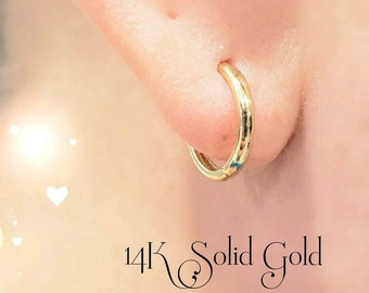14k Solid Yellow Gold • Round Tube Huggie Hoop Earring Round Hinge Plain Design Polished  •  4 Sizes Available 10 mm -15 mm •