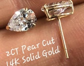14K Solid White or Yellow Gold Tear Drop Pear Brilliant Cut 2 -3 CTW Simulated Moissanite Push Backs Women 39 s Earrings