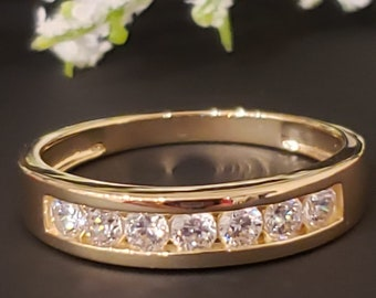 1.25 Ct Created Diamond  14K Solid Gold Mens Wedding Ring Solitaire Round Cut  Engagement Bands