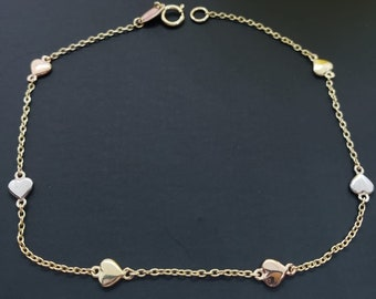 """14K Solid Gold 3 tone Color Chain Bracelet with Dainty  Heart 7.25"""" Or Necklace  17"""" For Women's Girls Bracelet"""