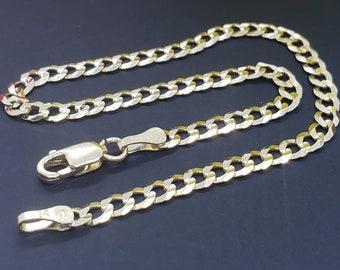 "14K Real Yellow Gold  3.5 mm Cuban Chain Length   7"" 7.5"" 8 8.5  9""  Bracelet , Necklace Women's Men's"