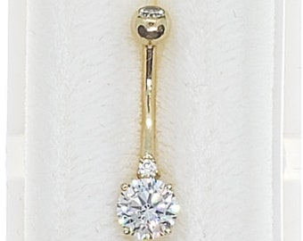 14K Solid Gold • DOUBLE GEMS •Belly Button NAVEL• Body Piercing Jewelry• Belly Ring •  Navel Piercing •