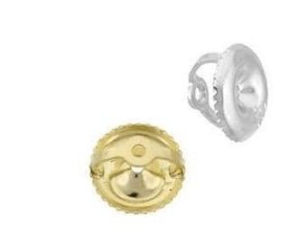 Diamond Screw Backing 14K Real Gold in White or Yellow Gold  Earnut Screw Backing