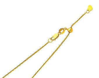"""0.90 mm Adjustable Snake Chain 14K Solid Yellow or White Gold in  20"""" Inches"""